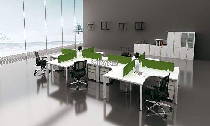 迈亚极简绿色弧形职员桌
