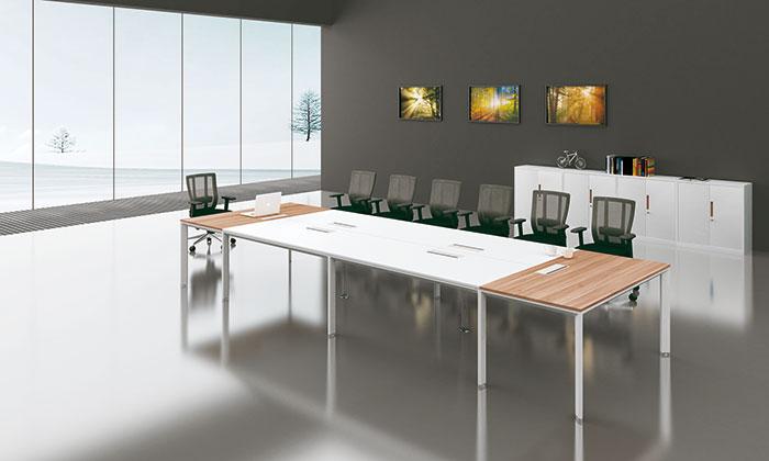 简悦木纹色会议桌